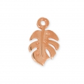 Metal pendant philodendron leaf 14.7 mm Rose gold tone x1