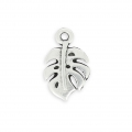 Metal pendant philodendron leaf 14.7 mm old silver tone x1