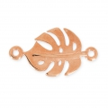 Metal spacer philodendron leaf 22 mm Rose gold tone x1