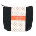 Cotton flat round pouch with zipper make-up kit format 17x14cm Black x1