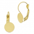 Leverback earrings discus 10 mm stainless steel gold tone x2