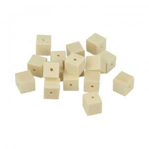 Set of 30 square natural wood beads 10 mm x1