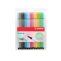 Etui de 15 stylos feutres Pen 68 STABILO pointe moyenne 1 mm Pastel Collection