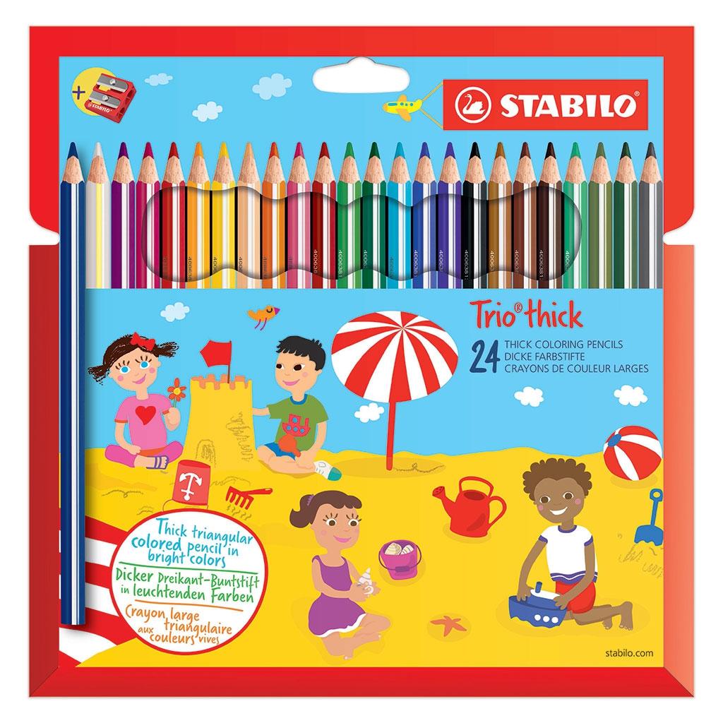 24 Pencils Trio Thick STABILO Large Tip Triangular Handle