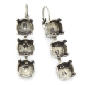 Leverback Earrings trio for Swarovski Cabochons 1028/1088 8mm old silver x2