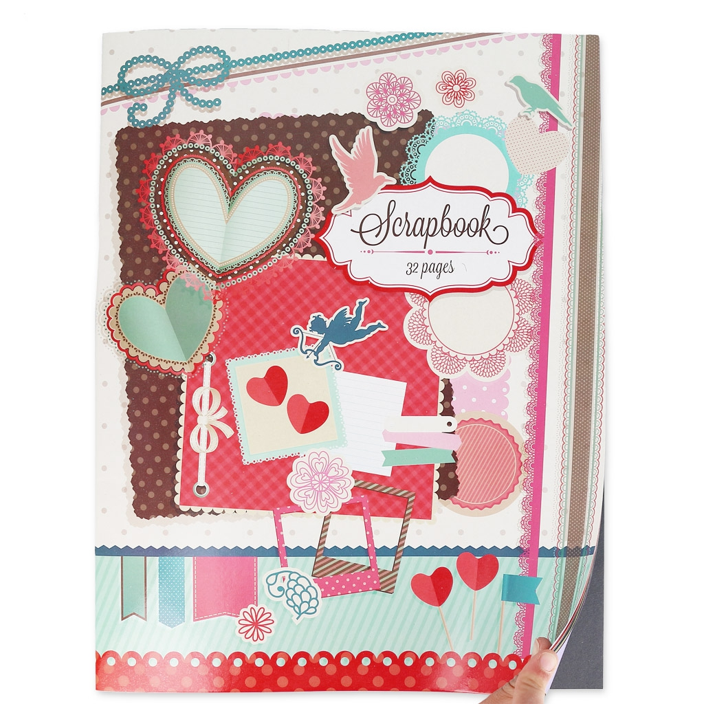 Scrapbooking notebook with 32 single colored sheets 29x38 ...