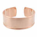 Brass bracelet base with curved edge 21x160mm gold tone pink x1