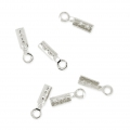 Mini lace clip 0.6mm Rhodium tone x10