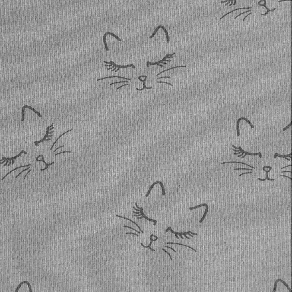 Jersey fabric for children kitten pattern black and grey for Grey childrens fabric