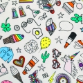 Coated cotton fabric Magical  Summer - Icons White/Multicolored x10cm