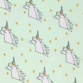 Coated cotton fabric Magic Summer - Unicorn Mint/Multicolored/Gold tone x10cm