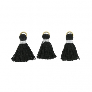 Artificial silk pompons 20 mm with fastening Black/Doré x6