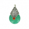 Ethnic resin pendant 16x28 mm Old Silver Tone/Green x1