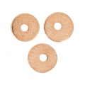 Flat Washers Heishi style made of brass  4 mm Gold Rose Tone x10