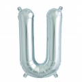 Aluminum balloon for festive decoration Yey - Let's Party letter U silver x1