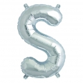 Aluminum balloon for festive decoration Yey - Let's Party letter S silver x1