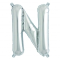 Aluminum balloon for festive decoration Yey - Let's Party letter N silver x1
