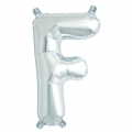 Aluminum balloon for festive decoration Yey - Let's Party letter F silver x1
