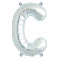 Aluminum balloon for festive decoration Yey - Let's Party letter C silver x1