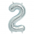 Aluminum balloon for festive decoration Yey - Let's Party figure 2 silver x1