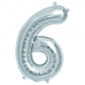 Aluminum balloon for festive decoration Yey - Let's Party figure 6 silver x1
