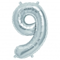 Aluminum balloon for festive decoration Yey - Let's Party figure 9 silver x1