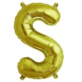 Aluminum balloon for festive decoration Yey - Let's Party letter S Gold Tone x1
