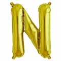 Aluminum balloon for festive decoration Yey - Let's Party letter N Gold Tone x1