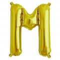 Aluminum balloon for festive decoration Yey - Let's Party letter M Gold Tone x1
