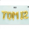 Aluminum balloon for festive decoration Yey - Let's Party letter J Gold Tone x1