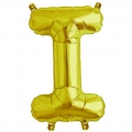 Aluminum balloon for festive decoration Yey - Let's Party letter I Gold Tone x1