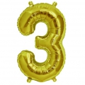 Aluminum balloon for festive decoration Yey - Let's Party figure 3 Gold Tone x1