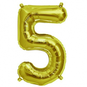 Aluminum balloon for festive decoration Yey - Let's Party letter 5 Gold Tone x1