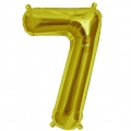 Aluminum balloon for festive decoration Yey - Let's Party figure 7 Gold Tone x1