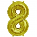 Aluminum balloon for festive decoration Yey - Let's Party figure 8 Gold Tone x1