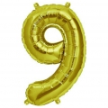 Aluminum balloon for festive decoration Yey - Let's Party figure 9 Gold Tone x1