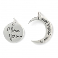 Complementary Sterling Silver 925 pendant I love you... to the moon 23 mm x1