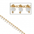 Oval mesh chain with glass seed beads 3mm White/Gold Tone X 50cm
