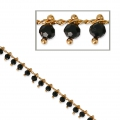 Oval mesh chain with glass seed beads 3mm Black/Gold Tone x 50cm