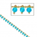 Oval mesh chain with glass seed beads 3mm Turquoise/Gold Tone x 50cm