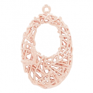 Oval brass cast iron pendant with interlaced wire 26 mm Gold Tone Rose