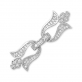 Clasp to clip for watches/weaving 37x12mm with rhinestones style micro pave rhodié