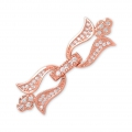 Clasp to clip for watches/weaving 37x12mm with rhinestones style micro pave doré rose