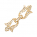 Clasp to clip for watches/weaving 37x12mm with rhinestones style micro pave doré