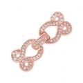 Clasp to clip for watches/weaving 30x12mm with rhinestones style micro pave doré rose