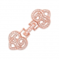 Clasp to clip for watches/weaving 35x14mm with rhinestones style micro pave doré rose
