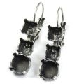 Leverback Earrings trio for Swarovski Cabochons 1028/1088 8 et 6 mm old silver x2
