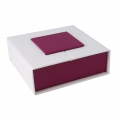 Magnetized gift box for jewellery 8,6x8,6x3 cm Violet/White x1