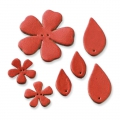 7 flowers and leather leaves to decorate 27-55 mm Red x1