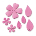 7  flowers and leather leaves to decorate 27-55 mm Pink x1